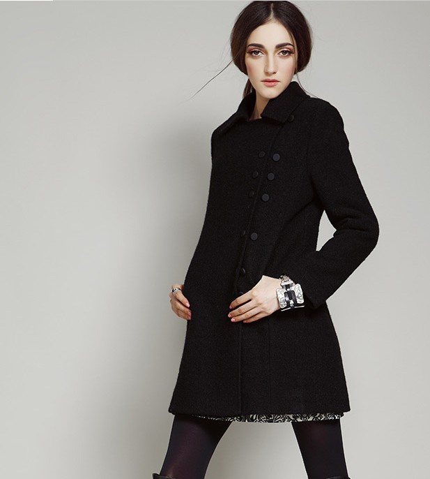 Women Warm Wool Coat Jacket Black Double-breasted on Luulla