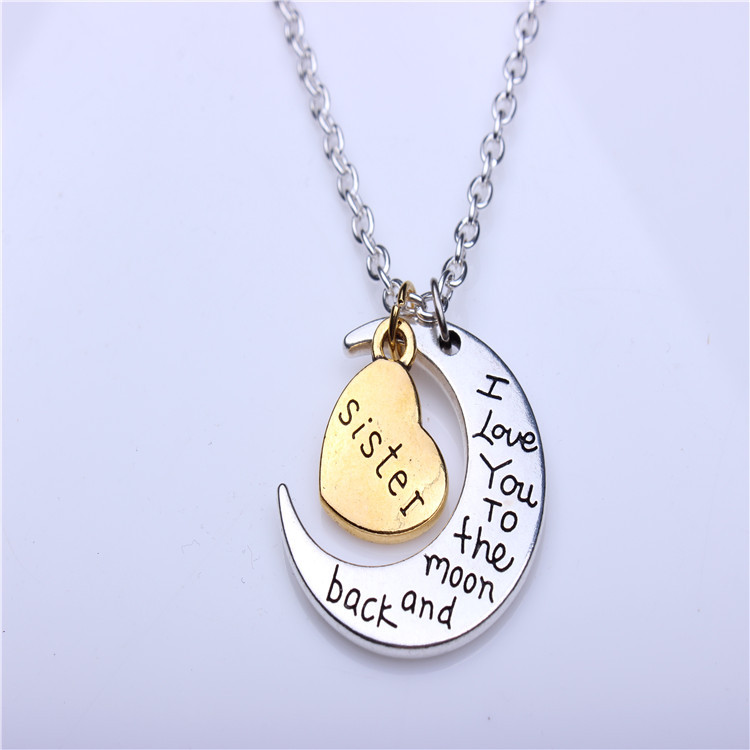 Christmas Gifts For Sister.Necklace Valentine S Day Birthday Gift Christmas Gift Sister I Love You To The Moon And Back